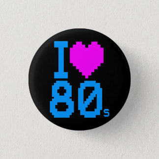 COREY TIGER 1980s RETRO I HEART 80's LOVE 3 Cm Round Badge