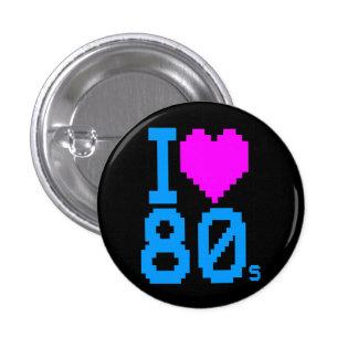 COREY TIGER 1980s RETRO I HEART 80's LOVE 3 Cm Round Badge