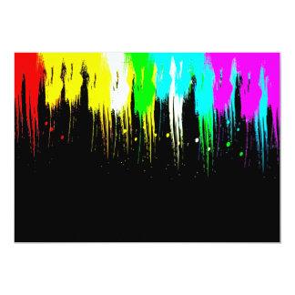 Corey Tiger 1980s Retro Vintage Neon Paint Drip 13 Cm X 18 Cm Invitation Card