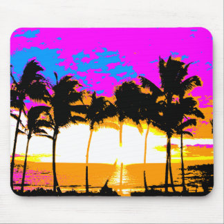 COREY TIGER 1980s RETRO VINTAGE PALM TREES SUNSET Mouse Mat