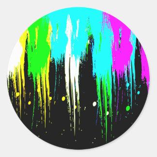 Corey Tiger 1980s Vintage Paint Drip Round Stickers
