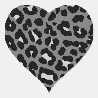 Corey Tiger 80s Leopard Spots Gray Heart Sticker