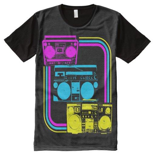 Corey Tiger 80s Retro Boombox Radio All Over Print T Shirt