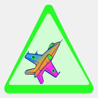 Corey Tiger 80s Retro Jet Fighter Plane Triangle Stickers