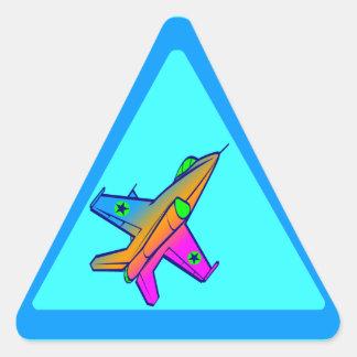 Corey Tiger 80s Retro Jet Fighter Plane Triangle Sticker
