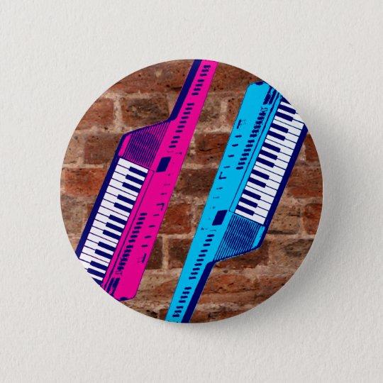 Corey Tiger 80's Retro Keytar Brick Wall 6 Cm Round Badge