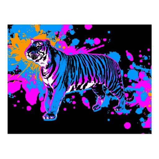 Corey Tiger '80s Retro Paint Splatter Tiger Post Card