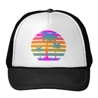 Corey Tiger 80s Retro Sunset Palm Trees Cap