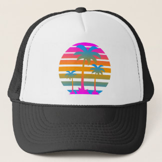 Corey Tiger 80s Retro Sunset Palm Trees Trucker Hat