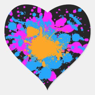 Corey Tiger 80s Splatter Paint Heart Sticker