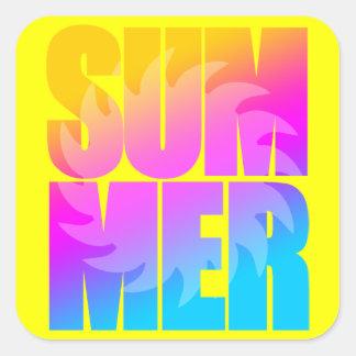 Corey Tiger 80s Summer Sun Square Sticker