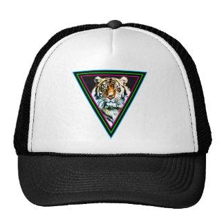 Corey Tiger 80s Vintage Neon Triangles Tiger Face Trucker Hat