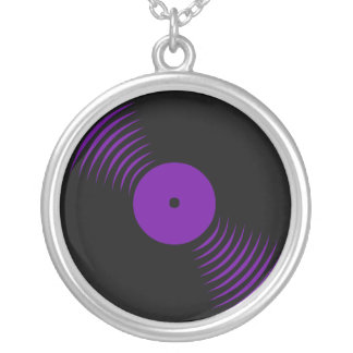 Corey Tiger 80s Vinyl Record Necklace (Purple)