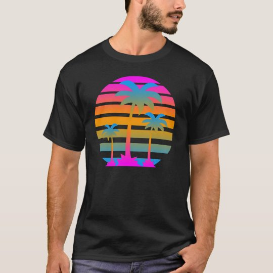 Corey Tiger Retro Sunset Palm Trees T-Shirt