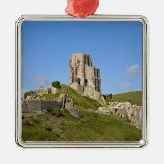 Corfe Castle, Corfe, Dorset, England Silver-Colored Square Decoration