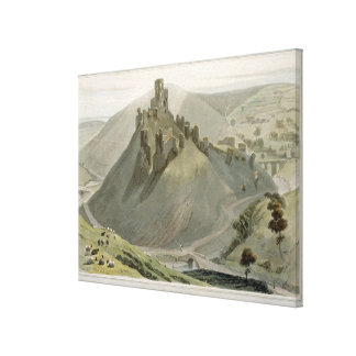 Corfe Castle, from 'A Voyage Around Great Britain Canvas Print