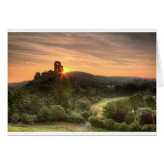 Corfe Castle Sunrise Greeting Card