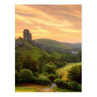 Corfe Castle Sunrise Postcard