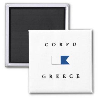 Corfu Greece Alpha Dive Flag Square Magnet