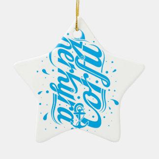 Corfu - Kerkyra typography design Ceramic Star Decoration