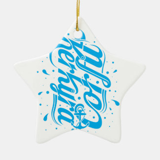 Corfu - Kerkyra typography design Christmas Ornament