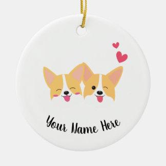 Corgi/ Add your name Christmas Ornament