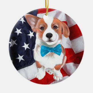 Corgi America Christmas Ornament
