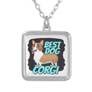 Corgi Best Dog Square Pendant Necklace