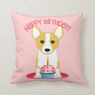 Corgi Birthday Pink Throw Pillow