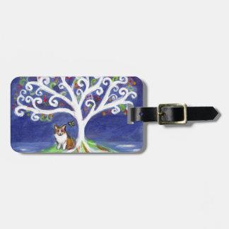 Corgi butterfly spiritual love tree luggage tag