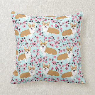 Corgi Cherry Blossom Pillow