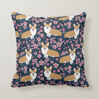 Corgi Cherry Blossom pillow - dark navy