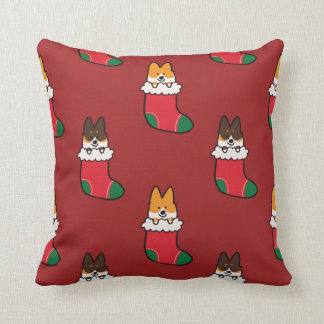 Corgi Christmas Stocking Pattern Pillow