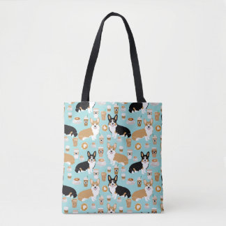 Corgi Coffee tote bag - cardigan corgis