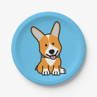 Corgi Corgis dog puppy doggy happy Pembroke Welsh 7 Inch Paper Plate