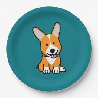 Corgi Corgis dog puppy doggy happy Pembroke Welsh 9 Inch Paper Plate