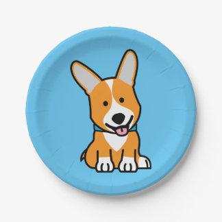 Corgi Corgis dog puppy doggy happy Pembroke Welsh Paper Plate