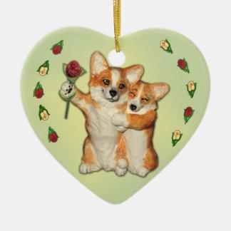 """Corgi Couple""  Corgi Ornament"