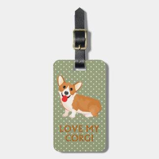 corgi dog love luggage tag