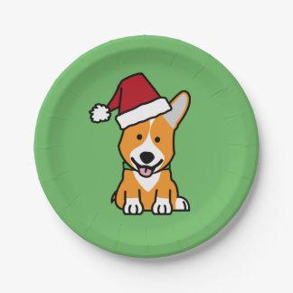 Corgi dog puppy Pembroke Welsh Christmas Santa hat 7 Inch Paper Plate