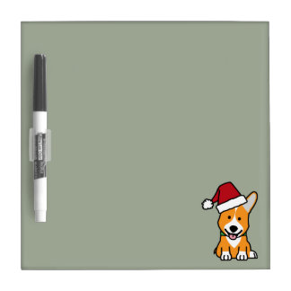 Corgi dog puppy Pembroke Welsh Christmas Santa hat Dry Erase Board