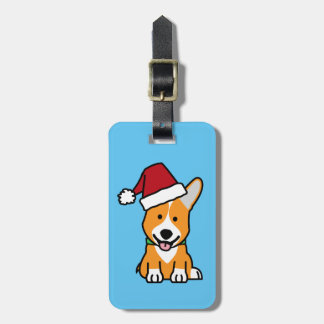 Corgi dog puppy Pembroke Welsh Christmas Santa hat Luggage Tag