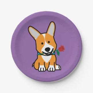 Corgi dog puppy Pembroke Welsh Valentine Rose Paper Plate