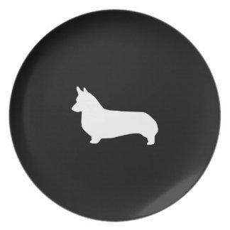 Corgi Dog Silhouette Plate - Dog melamine plate