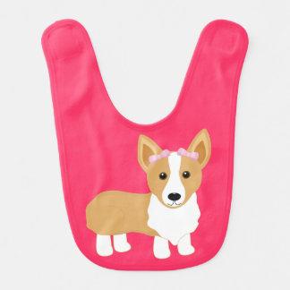 Corgi Dog with Pink Bows Baby Girl Bib