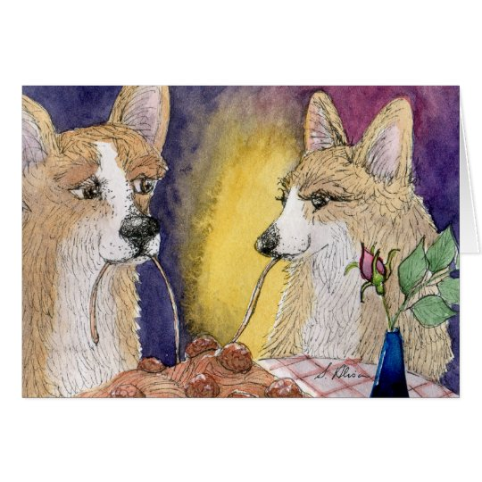 Corgi dogs eating spaghetti and meatballs card