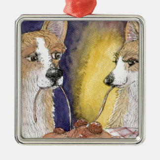 Corgi dogs eating spaghetti and meatballs christmas ornament