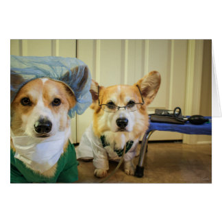 Corgi Dr and Nurse Rest and Feel Better Soon Card
