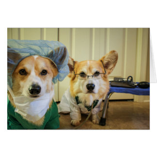 Corgi Dr and Nurse Take Care to Feel Better Soon Card