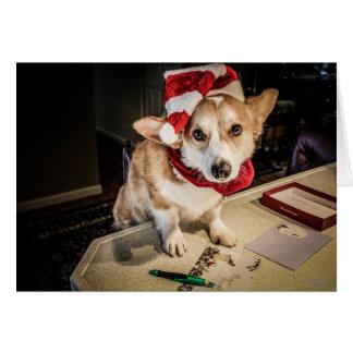 Corgi Elf Christmas Card